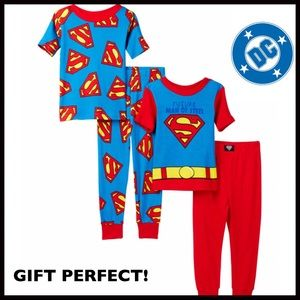 2 SUPERMAN PJS HERO PAJAMAS COSTUME SLEEP SETS